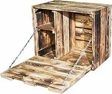 Kleine geflammte Wand Hängebar mit integrierter Arbeitsplatte - flambiert - Holztruhe Obstkiste Holzkiste Barregal mit Ablagefläche 51x41x31cm