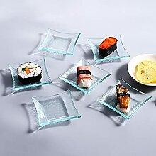 Kleine Glasschalen und Teller 6er Set eckig