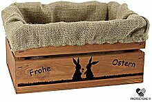 Kleine Holzkiste, braun gebeizt, mit Stoffeinlage aus Jute, 5 versch. Ostermotive - Stiege - Steige - Geschenkverpackung - Geschenkidee - Präsentkorb - Ostern (Hasenpärchen)