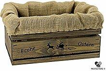Kleine Holzkiste, dunkelgrau gebeizt, mit Stoffeinlage aus Jute, 5 versch. Ostermotive - Stiege - Steige - Geschenkverpackung - Geschenkidee - Präsentkorb - Ostern (Osterhase mit Rentierschlitten)