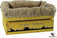 Kleine Holzkiste, gelb gebeizt, mit Stoffeinlage aus Jute, 5 versch. Ostermotive - Stiege - Steige - Geschenkverpackung - Geschenkidee - Präsentkorb - Ostern (Paarungszeit)