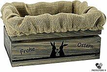 Kleine Holzkiste, hellgrau gebeizt, mit Stoffeinlage aus Jute, 5 versch. Ostermotive - Stiege - Steige - - Geschenkverpackung - Geschenkidee - Präsentkorb - Ostern (Hasenpärchen)