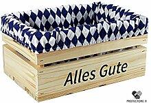 """Kleine Holzkiste mit Stoffeinlage blau / weiß , mit Aufdruck ALLES GUTE - Stiege - Steige - """" Mini """" - verschiedene Farben - Geschenkverpackung - Geschenkidee - Präsentkorb - leer (naturbelassen)"""