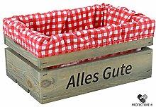 """Kleine Holzkiste mit Stoffeinlage rot / weiß , mit Aufdruck ALLES GUTE - Stiege - Steige - """" Mini """" - verschiedene Farben - Geschenkverpackung - Geschenkidee - Präsentkorb - leer (Hellgrau)"""