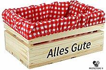"""Kleine Holzkiste mit Stoffeinlage rot / weiß , mit Aufdruck ALLES GUTE - Stiege - Steige - """""""" Mini """""""" - verschiedene Farben - Geschenkverpackung - Geschenkidee - Präsentkorb - leer (naturbelassen)"""