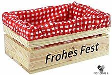 """Kleine Holzkiste mit Stoffeinlage rot / weiß , mit Aufdruck FROHES FEST - Stiege - Steige - """" Mini """" - verschiedene Farben - Geschenkverpackung - Geschenkidee - Präsentkorb - leer (naturbelassen)"""
