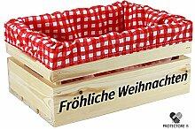 """Kleine Holzkiste mit Stoffeinlage rot / weiß , mit Aufdruck FRÖHLICHE WEIHNACHTEN - Stiege - Steige - """" Mini """" - verschiedene Farben - Geschenkverpackung - Geschenkidee - Präsentkorb - leer (naturbelassen)"""