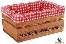 """Kleine Holzkiste mit Stoffeinlage rot / weiß , mit Aufdruck FRÖHLICHE WEIHNACHTEN - Stiege - Steige - """" Mini """" - verschiedene Farben - Geschenkverpackung - Geschenkidee - Präsentkorb - leer (Braun)"""