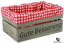 """Kleine Holzkiste mit Stoffeinlage rot / weiß , mit Aufdruck GUTE BESSERUNG - Stiege - Steige - """" Mini """" - verschiedene Farben - Geschenkverpackung - Geschenkidee - Präsentkorb - leer (Hellgrau)"""