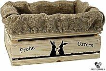 Kleine Holzkiste, naturbelassen, mit Stoffeinlage aus Jute, 5 versch. Ostermotive - Stiege - Steige - Geschenkverpackung - Geschenkidee - Präsentkorb - Ostern (Hasenpärchen)