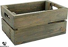 Kleine Holzkiste - Stiege - Steige - Mini - Grau gebeizt - Geschenkverpackung - Geschenkidee - Präsentkorb - Leer