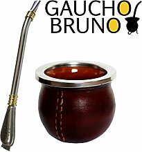 Kleine Keramik Leder-Mate-Cup mit Flat Base Yerba Mate trinken mit Bombilla Stroh