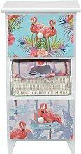Kleine Kommode in Weiß massiv Flamingo Motiven