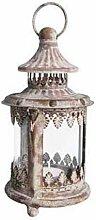Kleine Laterne Windlicht Eisen Shabby Chic 10x10x20,5 cm