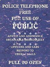 Kleine Polizei Telefon Blau Call Box Metall Schild