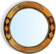 Kleine runde Marokkanische Spiegel mit Diamanten einfügen–Orange Henna–26cm–Ausverkauf -