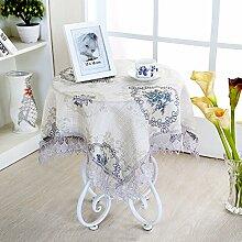Kleine Runde Tischdecke,Stoff Runde Quadratische Tischdecke,Lace Couchtisch Tuch Wohnzimmer Quadratische Tischdecke-E Durchmesser180cm(71inch)