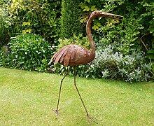 Kleine Rusty Heron stilisierten Metall Skulptur