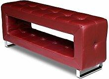 Kleine schmale Korridor Lederbank Sitzbank. Sehr stabile Konstruktion, Echtes Leder und Handarbeit. Nur 30 cm tief. Abbildung in Leder Weinrot / Bordeaux Rot.