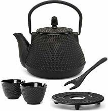 kleine Schwarze asiatische gusseiserne Teekanne