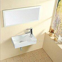 Kleine Waschbecken Rechteck Wandhalterung Garderobe Handwaschbecken weiß Keramik Schüssel mit abfallfrei