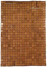 Kleine Wolke 5051318442 Holzmatte Mosaik, 50 x 70 cm, braun