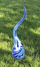 Kleiner Beetstecker Flamme Azur mit Stab Glas