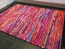 Kleiner Fair Trade Fleece-Flickenteppich, Flachgewebe, mit Fransen, Pink, 60cm x 90cm