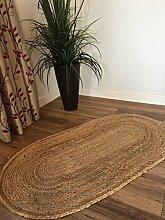 Kleiner geflochten oval natur Jute beige Teppich