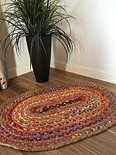 Kleiner geflochten oval Rag Teppich natur Jute und