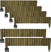Kleiner Lattenzaun zur Rasenbegrenzung, 12x1m, halbrunde Latten