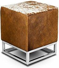 Kleiner schicker Würfel Kuhfell Bauhaus Echtleder Sitzhocker Beistellhocker Hocker Fußhocker 37 x 37 cm Sitzhöhe 45 cm. Abbildung echtes Kuhfell Braun-Weiß