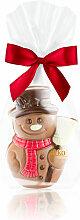 Kleiner Schneemann aus Edelvollmilch-Schokolade
