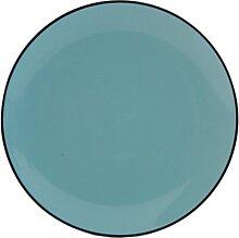 kleiner Teller, Kuchenteller ENAMEL BLAU D. 20cm H. 2cm Keramik Clayre & Eef (7,50 EUR / Stück)