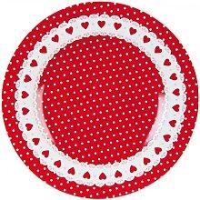 Kleiner Teller, Kuchenteller PUNKTE + HERZEN D. 21 cm rot weiß Clayre & Eef (11,95 EUR / Stück)