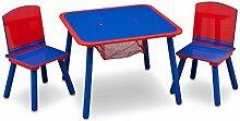 Kleiner Tisch und Stühle (Blau/Rot)