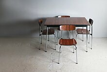 Kleiner Vintage Esstisch aus Resopal und 4