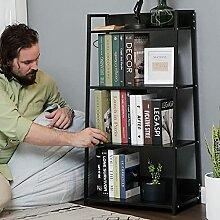 Kleines Bücherregal, 4 Etagen, Holz & Matel