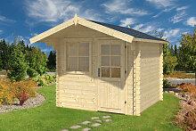 Kleines Gartenhaus mit Vordach Monica M 5m² / 28mm / 2×2