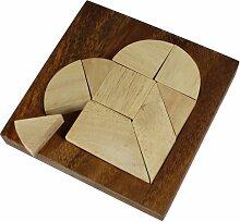 Kleines Herz Puzzle aus hellem Holz - Legespiel - Denkspiel - Knobelspiel - Geduldspiel im edlen Rahmen – Originelle Geschenk-Idee zum Valentinstag