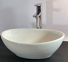 Kleines Keramik Aufsatz Waschbecken oval Gäste WC