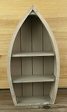 Kleines maritimes Regal in Bootform Bootsregal aus Holz ca.30,5x16x7,3cm grau