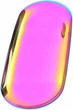 Kleines Metalltablett aus Edelstahl, oval,
