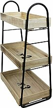 Kleines Regal mit Rollen und 3 Ebenen 42x25x66cm Rollregal Holzregal Küchenregal Beistellwagen für Bad Büro Haushal