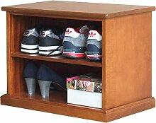 Kleines Schuhregal aus Holz, Möbel raumsparend für Schuhe, kleine Anrichte für Schuhe mit Einlegeboden, Struktur aus Holz, Einrichtung für Flur/Badezimmer/Schlafzimmer, B55xT35xH43, MONTIERT