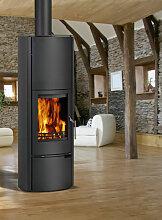 Kleining OVIDEOplus Stahl schwarz 5,5 kW, schwarz lackiert, mit Holzfach Kaminofen Schwedenofen Ofen