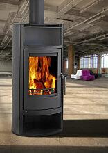 Kleining OVIEDO Stahl schwarz 5,5 kW mit Warmhaltefach und Holzfach, schwarz lackiert Kaminofen Schwedenofen Ofen