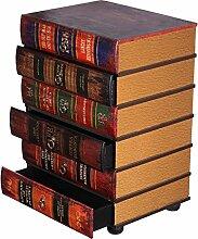Kleinmöbel, HY1E034 Kommode, schweres Regal im Buchlook, Teeschrank, Holz Telefontisch, Kommode, jedes Buch ist eine Schublade, 6 Schubladen, Flurkommode, Tisch, im Vintage Shaby Look, Antikoptik, Holz, Maritim, Deko, Hochwertig, 64 cm hoch 36 cm tief und 45 cm brei