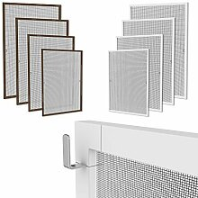 Klemmfix Fliegennetz Fenster Aluminium Rahmen Braun Größe 130cm*150cm Fliegengitter OHNE BOHREN Insektenschutz Gitter Fiberglas