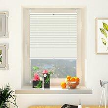 Klemmfix Plissee verspannt Jalousien Sonnenschutz Rollo mit Klemmträger, 45x200 cm (BxH) Beige